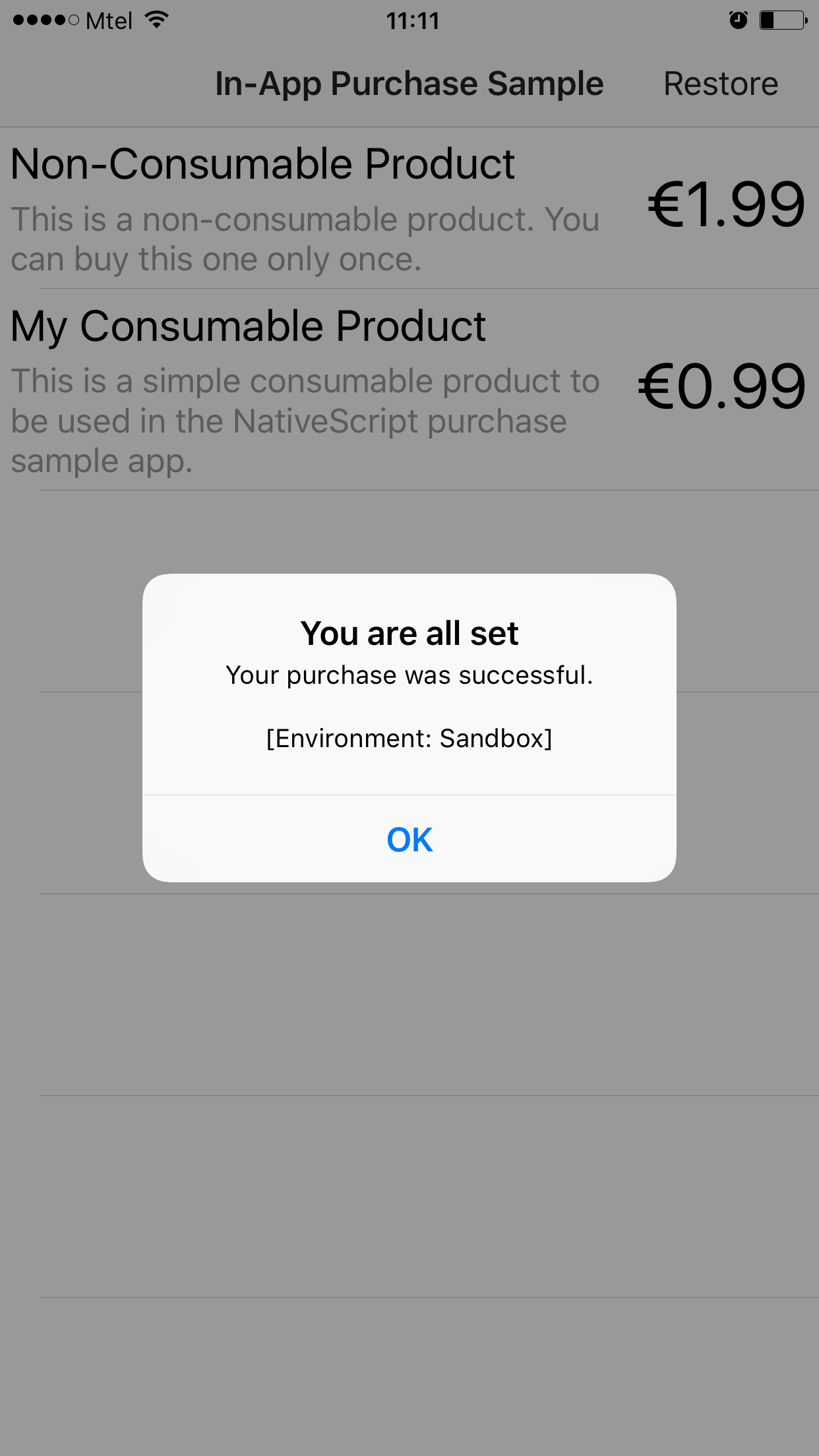 Device Sandbox In-App Purchase Success